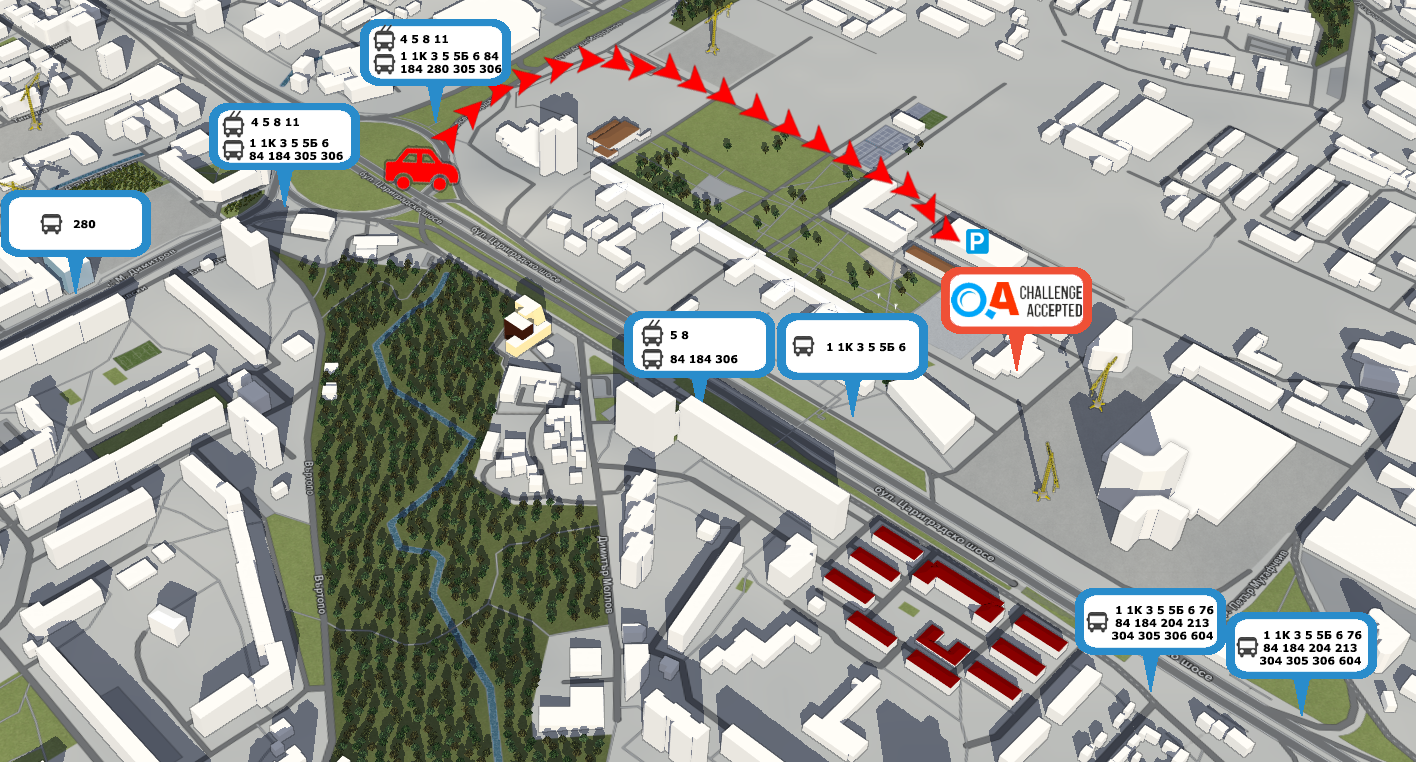 Map of the area around Sofia Tech Park